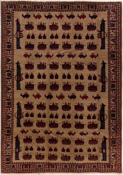 Bordered  Tribal Brown Area rug 6x9 Afghan Hand-knotted 280215
