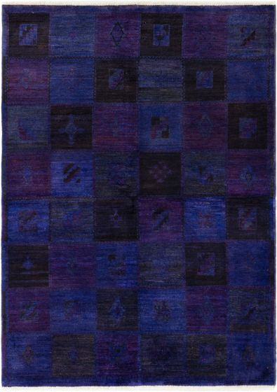 Casual  Transitional Purple Area rug 5x8 Indian Hand-knotted 280477