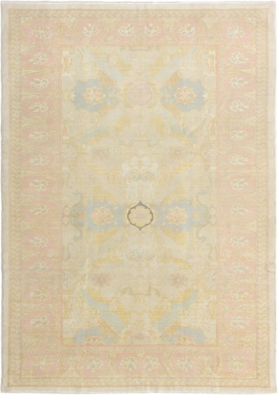 Bordered  Traditional Ivory Area rug 5x8 Turkish Hand-knotted 280749