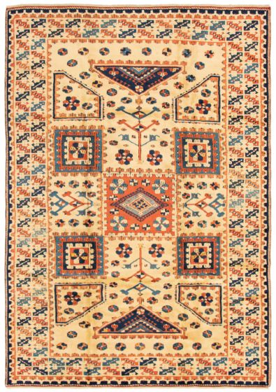 Bordered  Traditional Ivory Area rug 6x9 Turkish Hand-knotted 293406