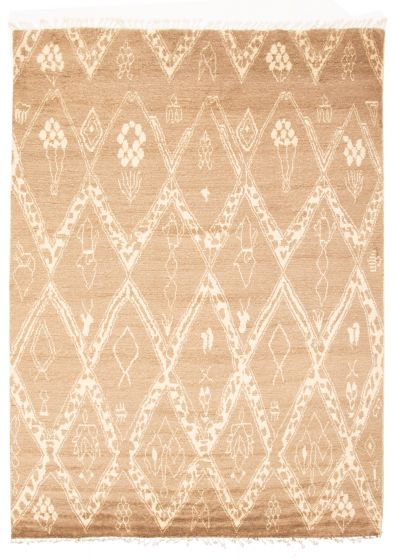 Moroccan  Tribal Brown Area rug 9x12 Pakistani Hand-knotted 311223