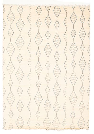 Moroccan  Tribal Ivory Area rug 9x12 Pakistani Hand-knotted 311243