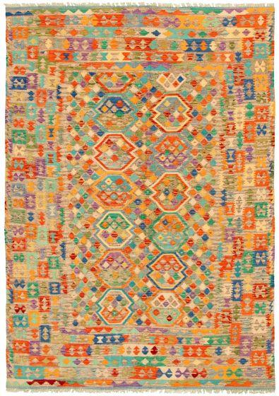 Bordered  Geometric Multi Area rug 6x9 Turkish Flat-weave 329866