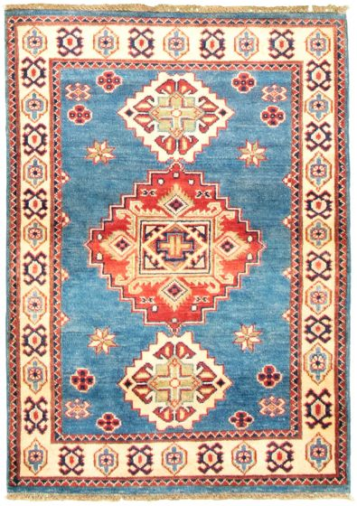 Bordered  Traditional Blue Area rug 3x5 Afghan Hand-knotted 330304