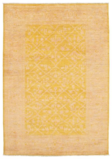 Bordered  Transitional Yellow Area rug 5x8 Pakistani Hand-knotted 339038