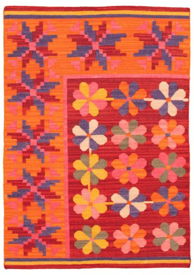Flat-weaves & Kilims  Transitional Red Area rug 4x6 Turkish Flat-weave 344428