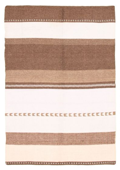 Flat-weaves & Kilims  Transitional Brown Area rug 5x8 Turkish Flat-weave 344447