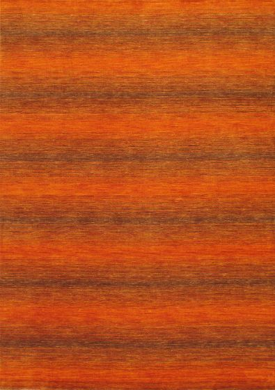 Contemporary Orange Area rug 5x8 Indian Hand-knotted 12959