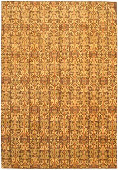 Traditional Brown Area rug 10x14 Afghan Hand-knotted 46755