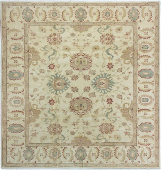 Bordered  Traditional Ivory Area rug Square Turkish Hand-knotted 280839