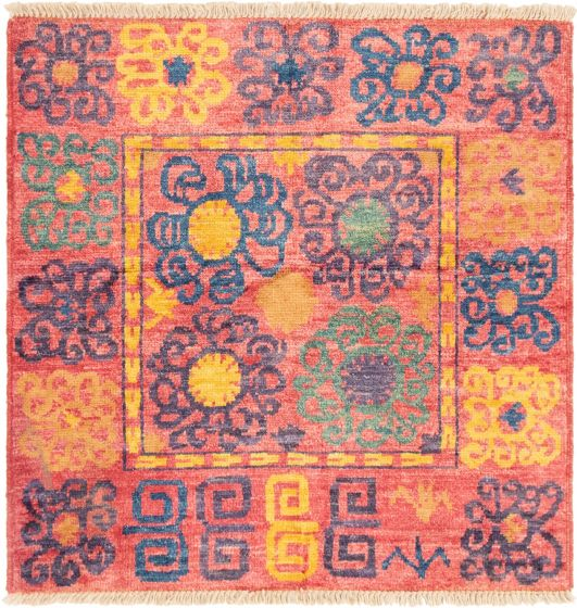 Bordered  Transitional Red Area rug 3x5 Indian Hand-knotted 292831