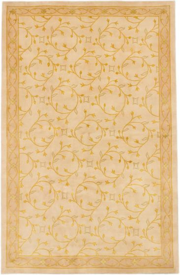 Transitional Ivory Area rug 6x9 Nepal Hand-knotted 164694