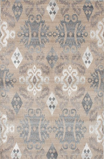 Transitional Ivory Area rug 5x8 Indian Hand-knotted 221953