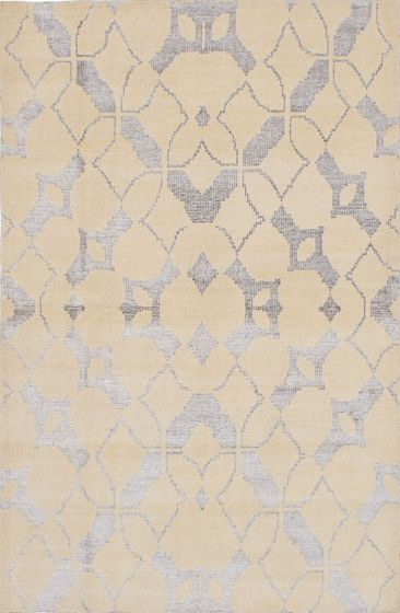 Transitional Yellow Area rug 5x8 Indian Hand-knotted 222047