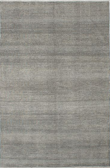 Transitional Grey Area rug 5x8 Indian Hand-knotted 222454