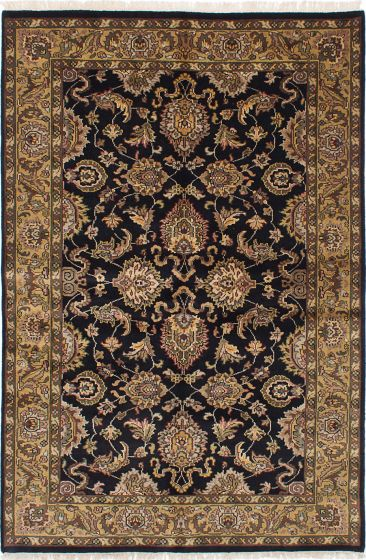 Traditional Black Area rug 5x8 Indian Hand-knotted 228194
