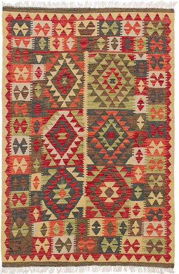 Traditional Red Area rug 3x5 Turkish Flat-weave 229223
