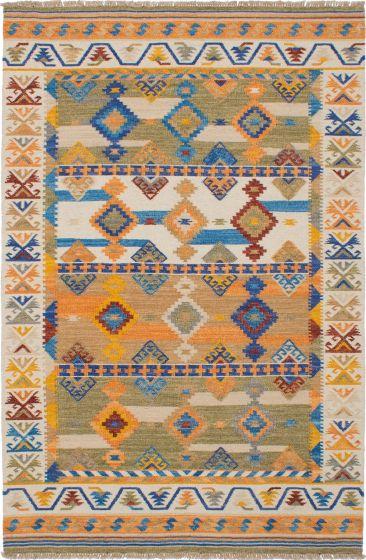 Bohemian  Traditional Ivory Area rug 5x8 Turkish Flat-weave 230531