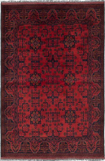 Traditional Red Area rug 3x5 Afghan Hand-knotted 236243