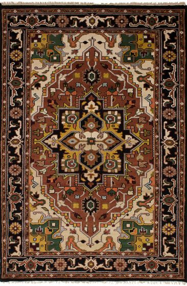 Traditional Brown Area rug 5x8 Indian Hand-knotted 246923