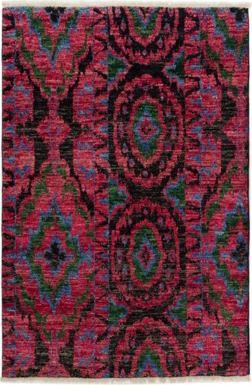 Casual  Transitional Red Area rug 3x5 Indian Hand-knotted 279990