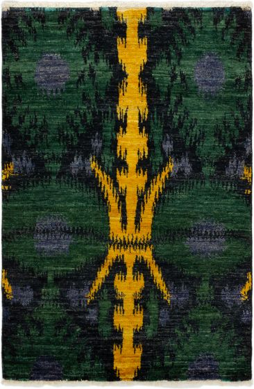 Casual  Transitional Green Area rug 3x5 Indian Hand-knotted 280036