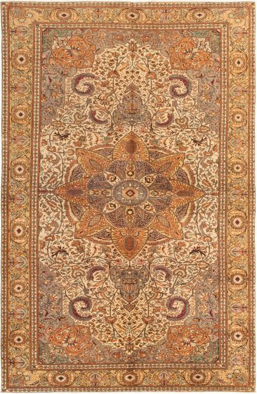 Bordered  Traditional Ivory Area rug 6x9 Turkish Hand-knotted 280993