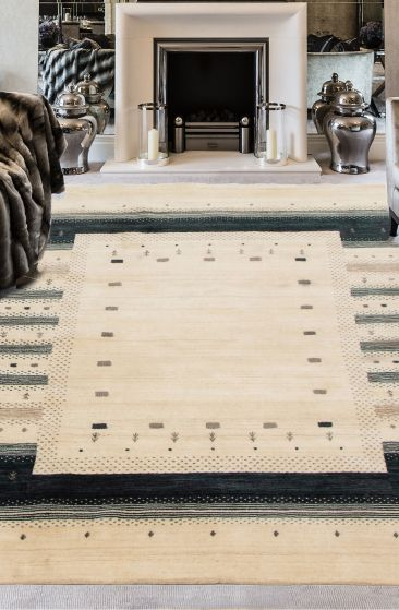 Gabbeh  Tribal Ivory Area rug 6x9 Indian Hand-knotted 285185