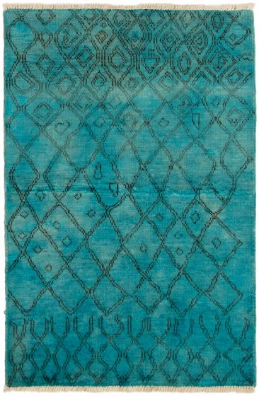 Casual  Transitional Green Area rug 3x5 Indian Hand-knotted 292821