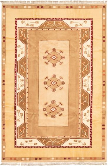 Bordered  Traditional Ivory Area rug 6x9 Turkish Hand-knotted 293248