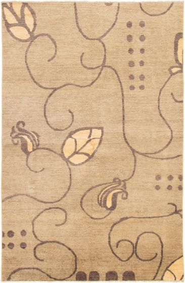 Casual  Transitional Green Area rug 5x8 Afghan Hand-knotted 295497