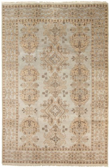 Bordered  Transitional Grey Area rug 5x8 Indian Hand-knotted 323062