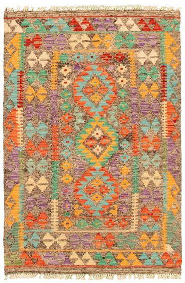 Flat-weaves & Kilims  Geometric Grey Area rug 3x5 Turkish Flat-weave 330178