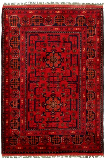 Bordered  Tribal Red Area rug 3x5 Afghan Hand-knotted 330271