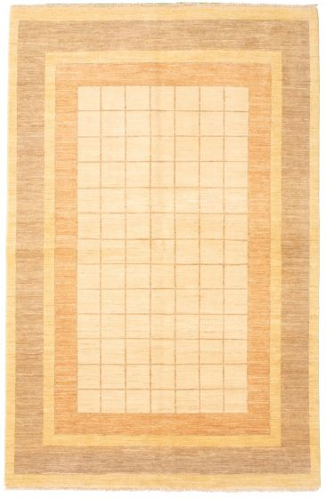 Bordered  Transitional Ivory Area rug 6x9 Pakistani Hand-knotted 330333