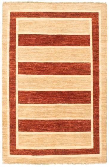 Bordered  Transitional Ivory Area rug 3x5 Pakistani Hand-knotted 330349