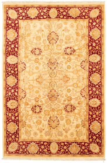 Bordered  Traditional Ivory Area rug 5x8 Pakistani Hand-knotted 330498