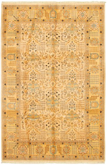 Bordered  Traditional Ivory Area rug 5x8 Pakistani Hand-knotted 330576