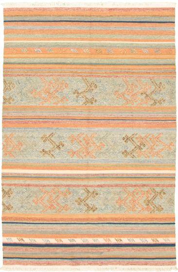 Bohemian  Transitional Blue Area rug 3x5 Turkish Flat-weave 335891