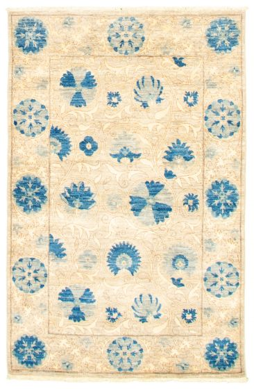 Bordered  Transitional Grey Area rug 3x5 Pakistani Hand-knotted 342114