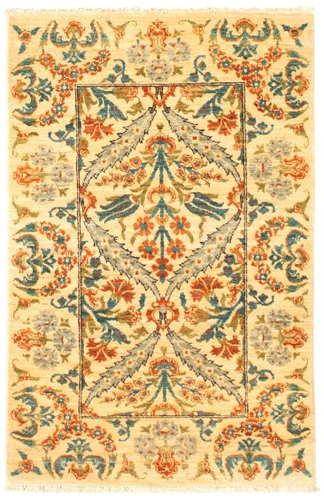 Traditional  Transitional Ivory Area rug 3x5 Pakistani Hand-knotted 342122