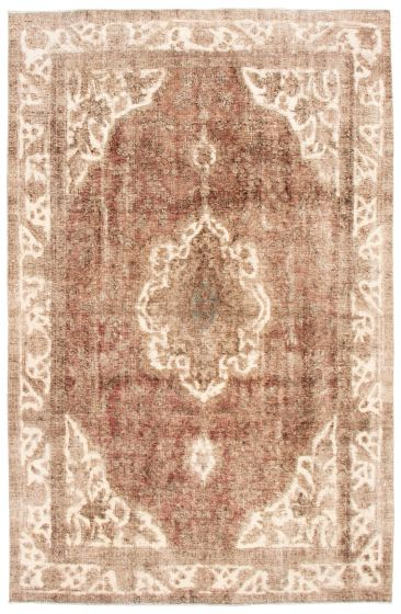 Bordered  Vintage Brown Area rug 6x9 Turkish Hand-knotted 342160