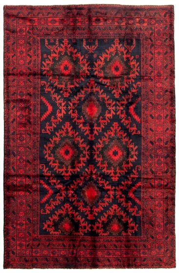 Bordered  Tribal Red Area rug 6x9 Afghan Hand-knotted 342470