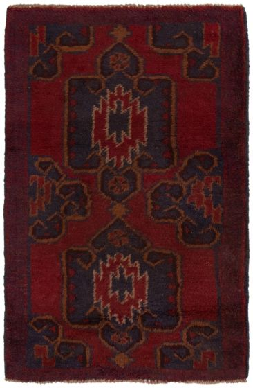 Bordered  Tribal Red Area rug 3x5 Afghan Hand-knotted 360567