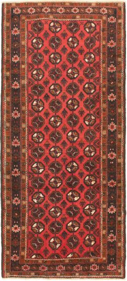 Bordered  Tribal Red Area rug Unique Russia Hand-knotted 319569