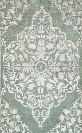 Transitional Green Area rug 5x8 Indian Hand-knotted 221922