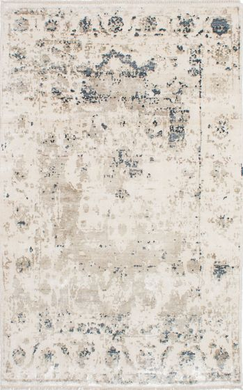 Transitional Ivory Area rug 5x8 Indian Hand-knotted 223676