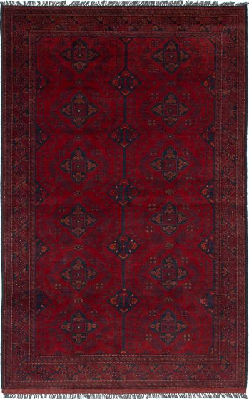 Traditional  Tribal Red Area rug 4x6 Afghan Hand-knotted 235685