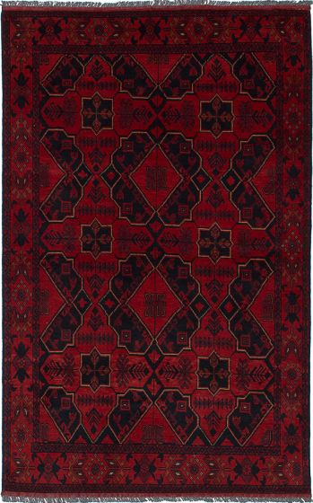 Traditional Red Area rug 3x5 Afghan Hand-knotted 236411