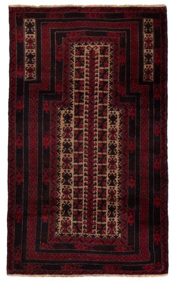 Bordered  Tribal Red Area rug Unique Afghan Hand-knotted 360602